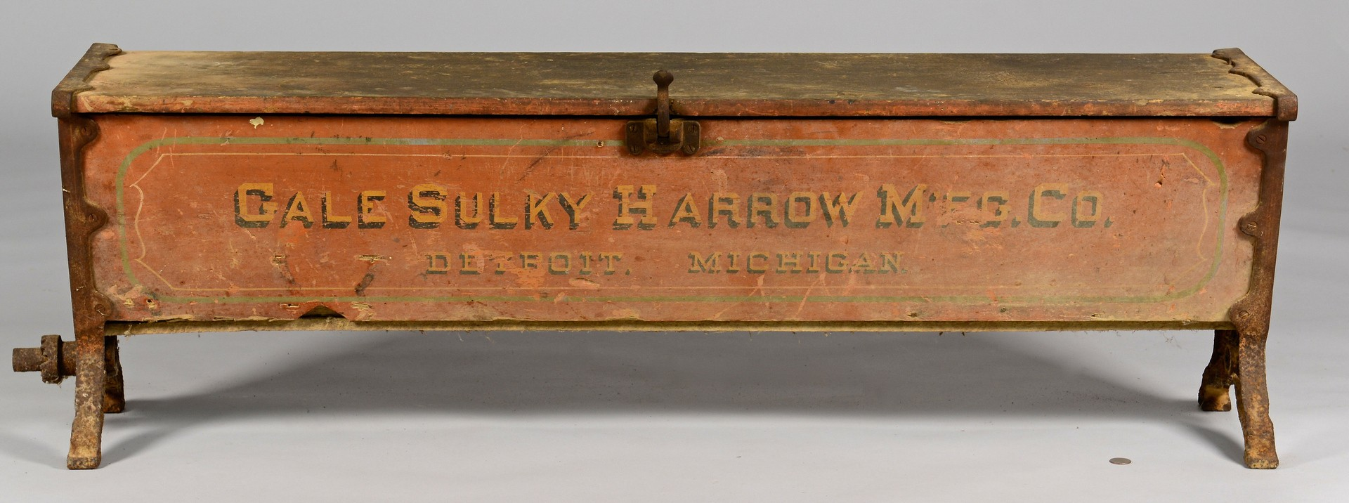 Lot 864: Hoosier Seed Drill Painted Advertising Bench