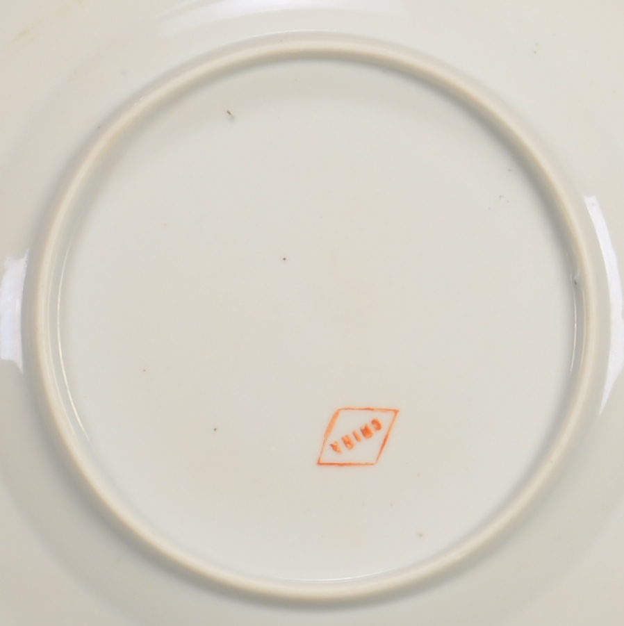Lot 867: 8 Famille Rose Butterfly Plates & 3 Mugs