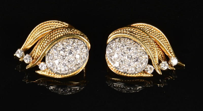 Lot 86: 18K, Platinum, Diamond Earrings