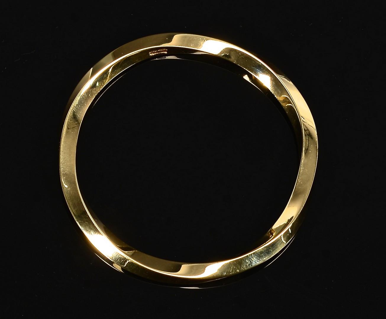 Lot 87: 18k Tiffany Twist Bangle Bracelet