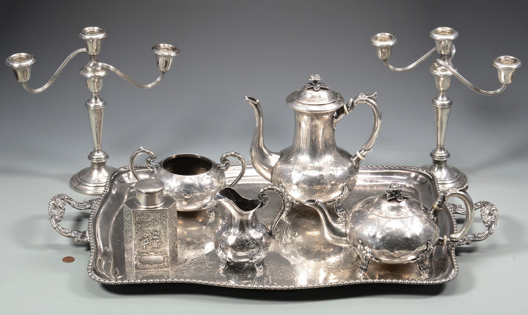 Lot 890: Candelabra, Tea Set, Tray and Caddy