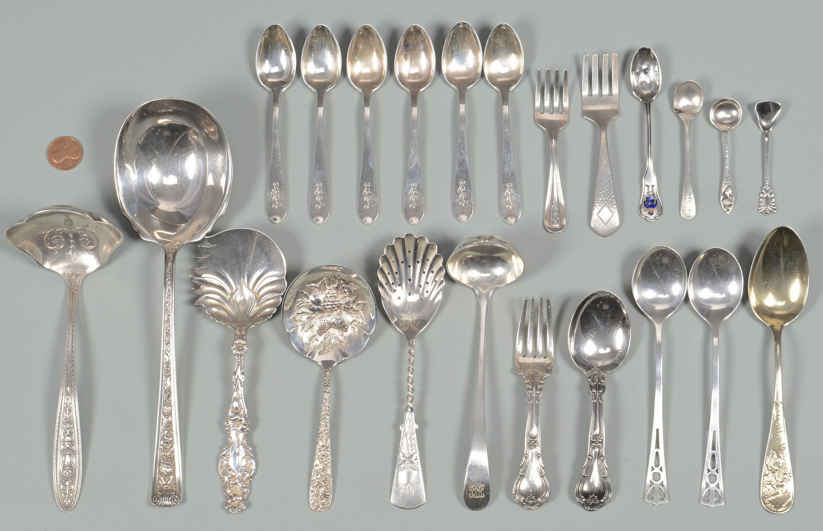 Lot 891: Assembled Grouping of Sterling Flatware, 23 pcs.