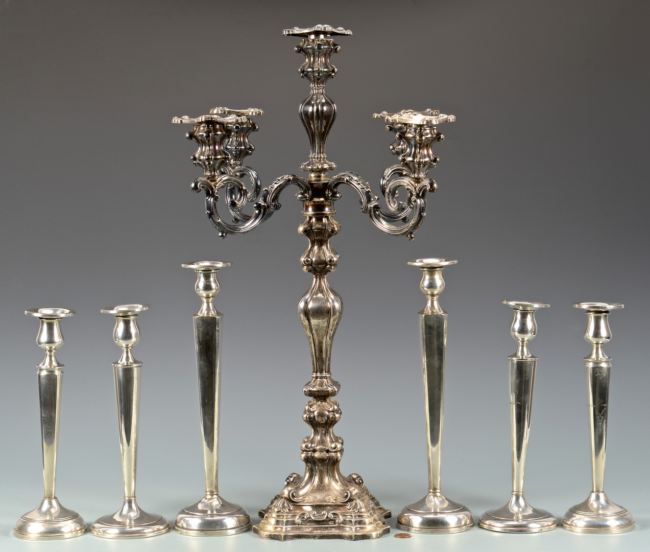 Lot 893: 6 Sterling Candlesticks & Silver Candelabra
