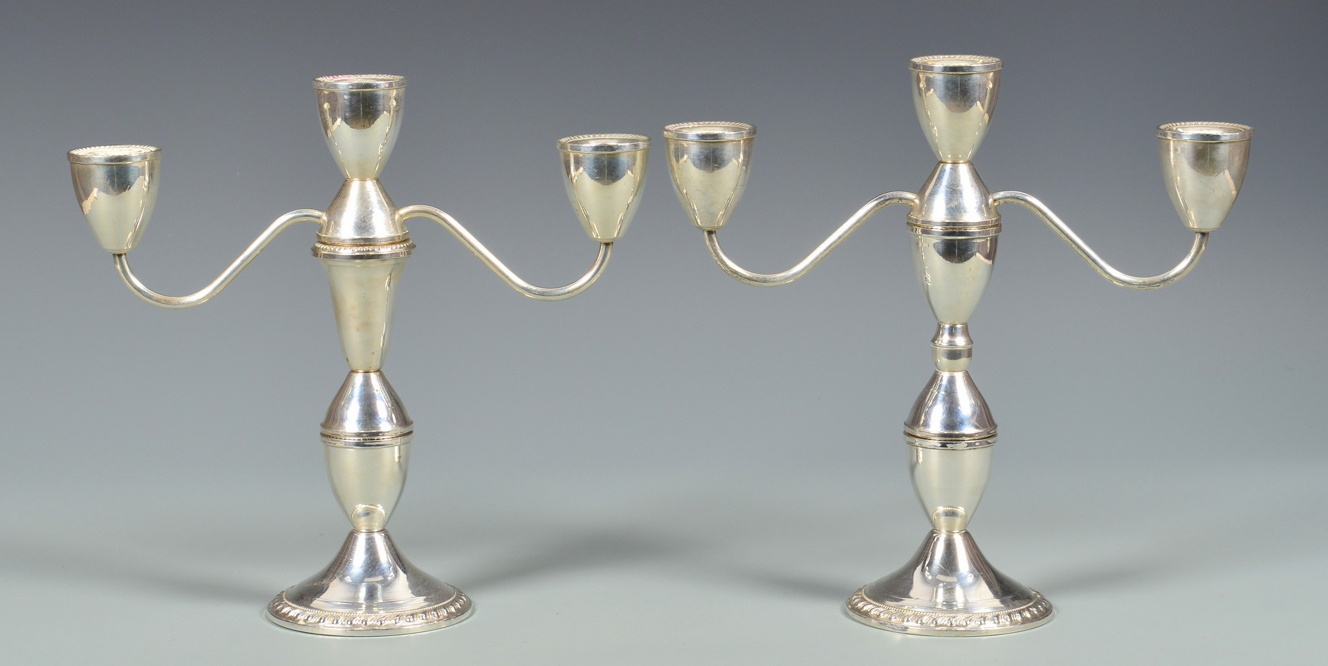 Lot 894: Two Pair Sterling Candelabra