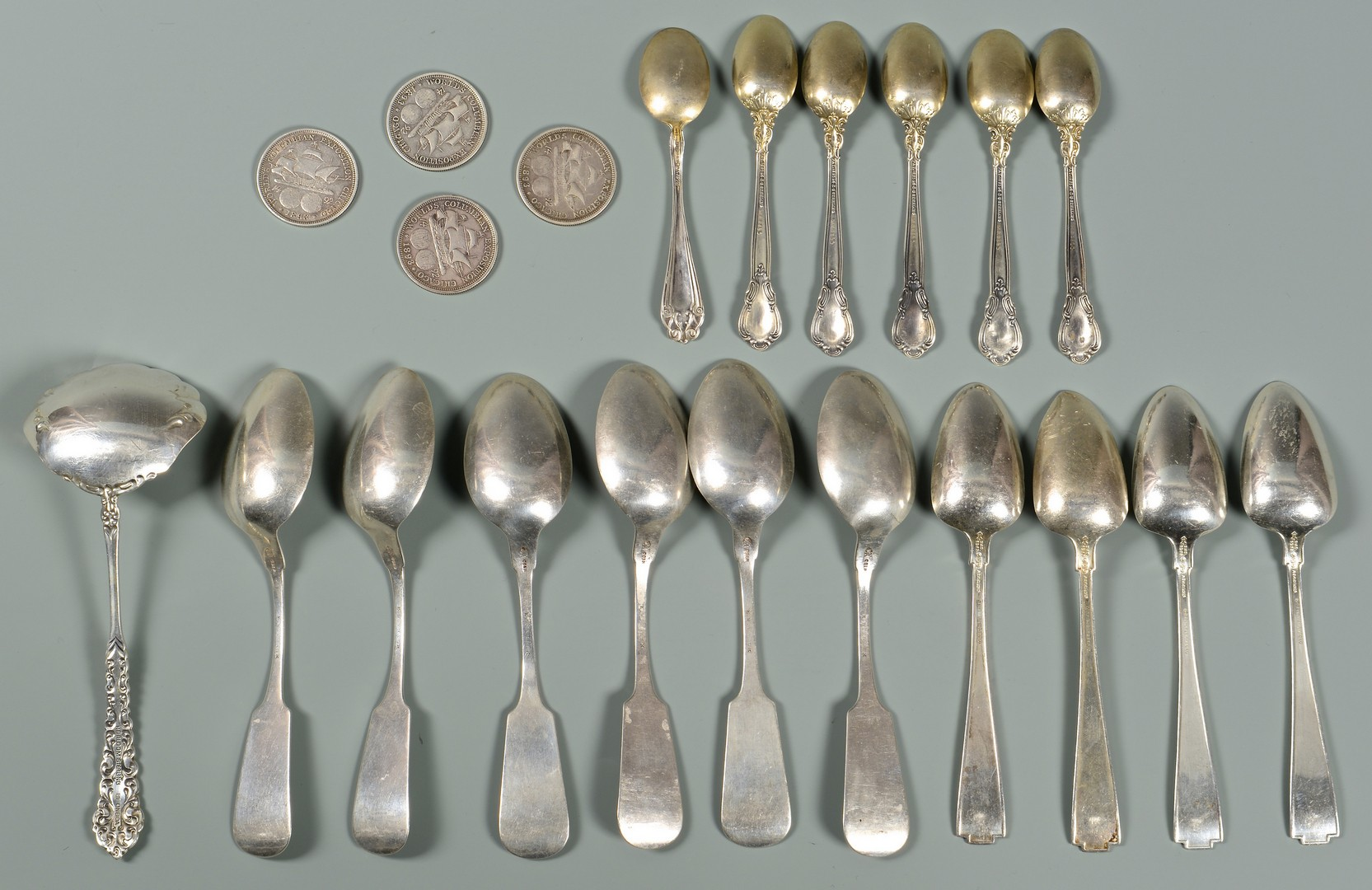Lot 895: Group of Silver: 17 Flatware, 4 Coins