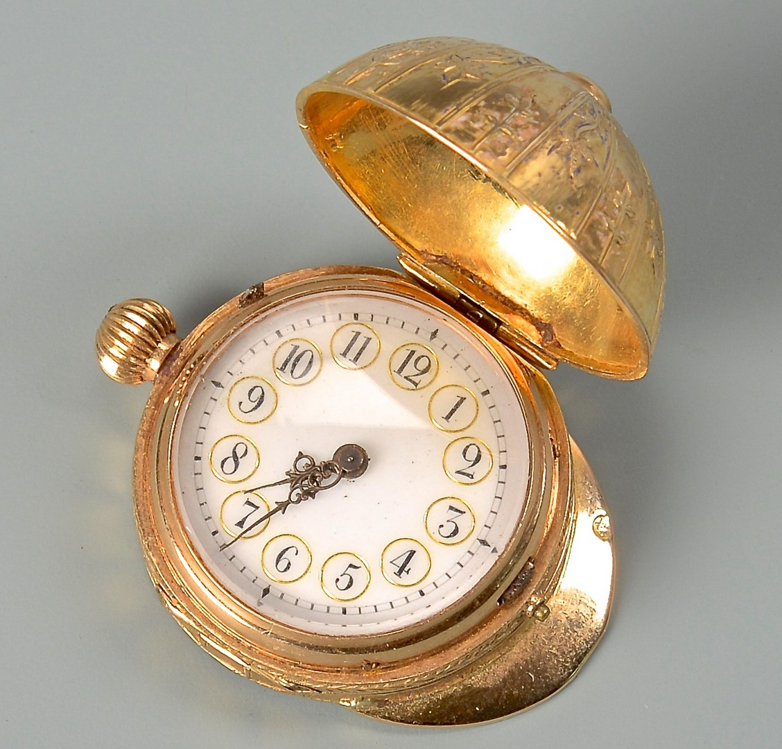 Lot 89: French 18K Equestrian Pocket Watch