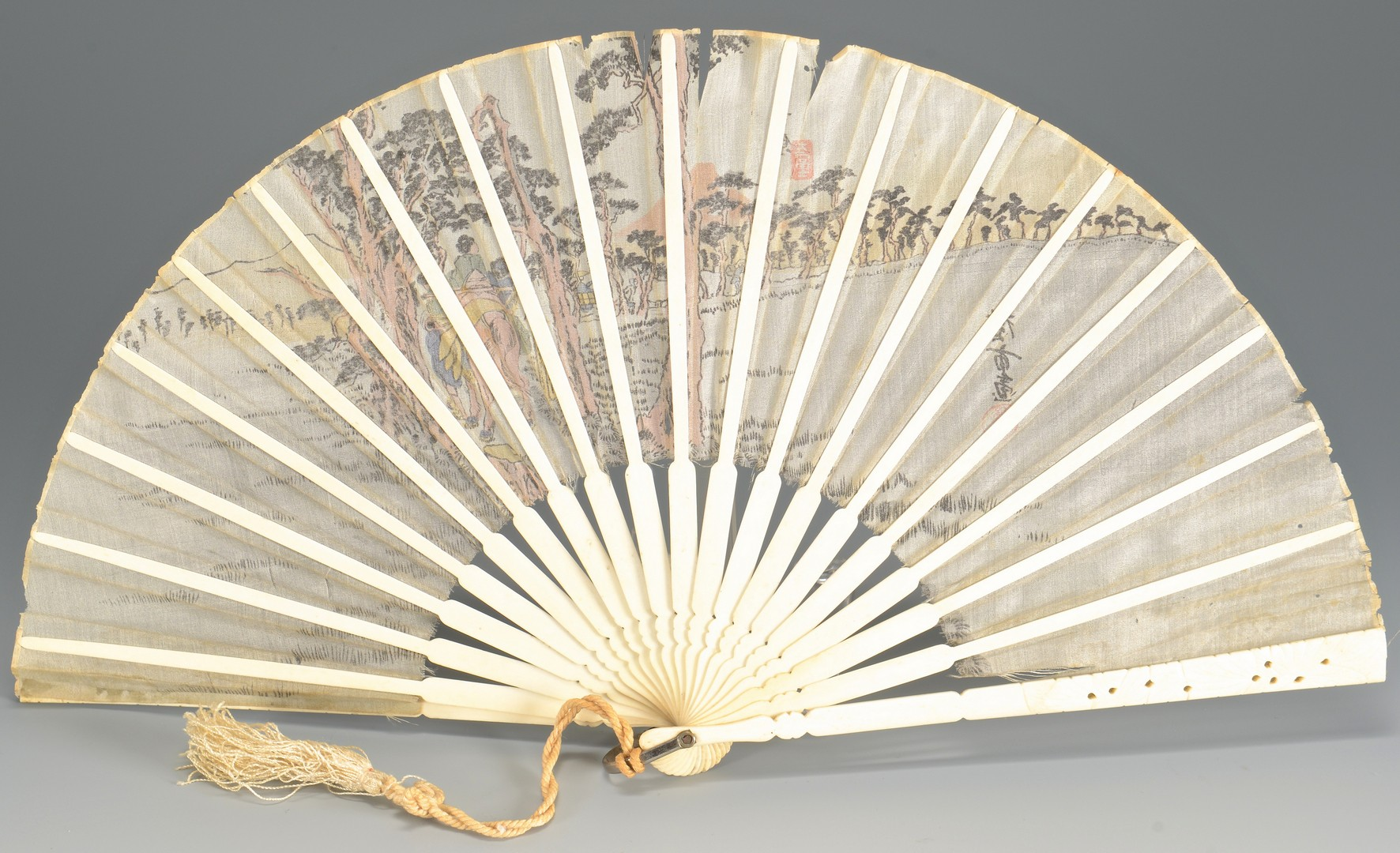 Lot 8: Group of 4 Asian items inc. pipe, fan