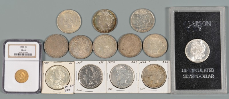 Lot 903: 12 US Morgan Silver Dollars & $5 Gold Coin