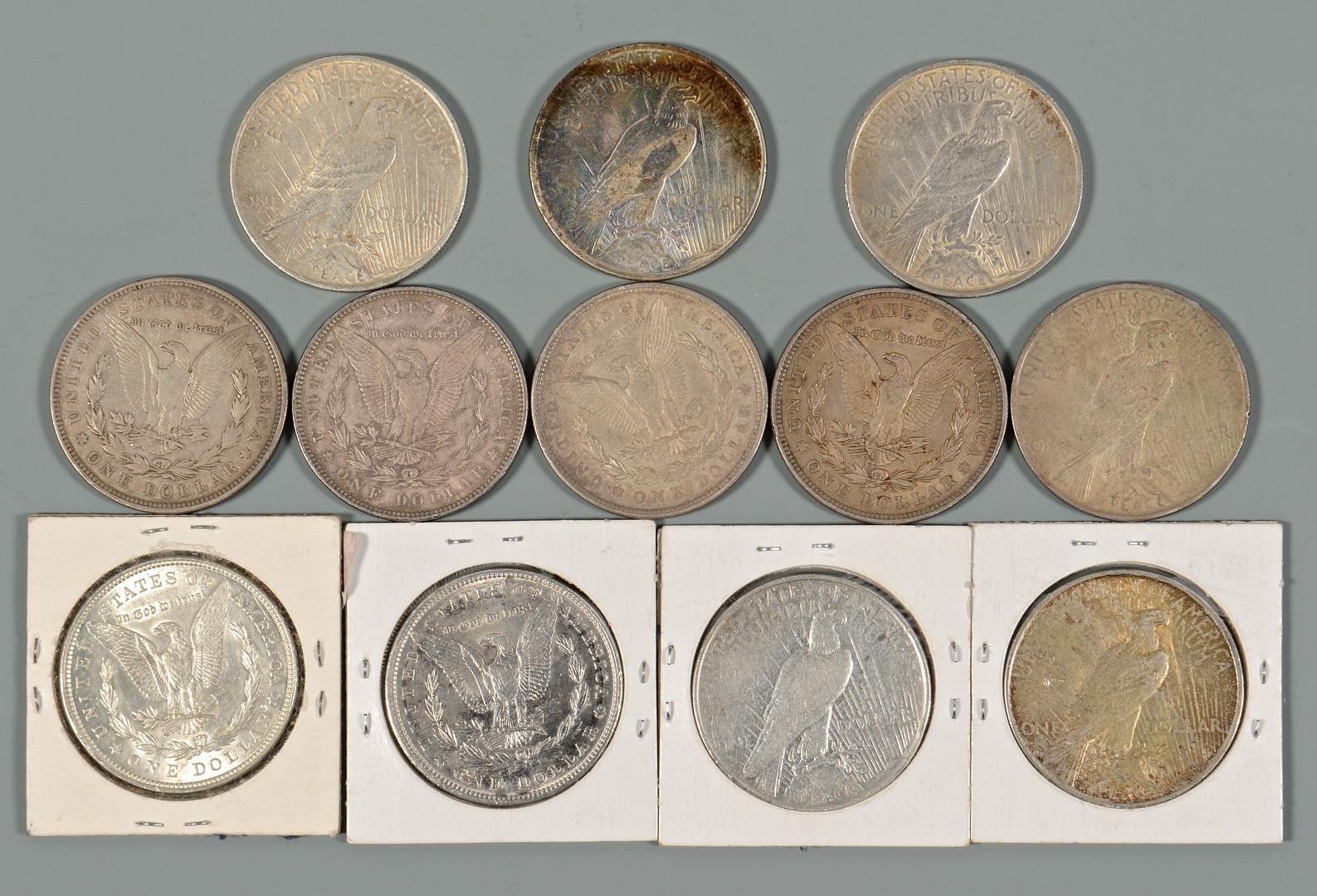 Lot 903: 12 US Morgan Silver Dollars & $5 Gold Coin