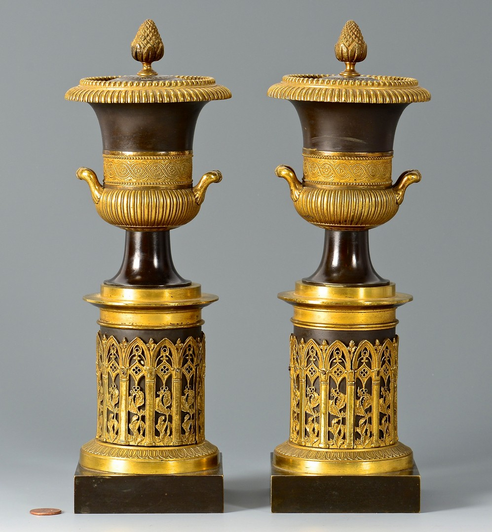 Lot 91: Pair Classical Style Bronze Garniture Urns