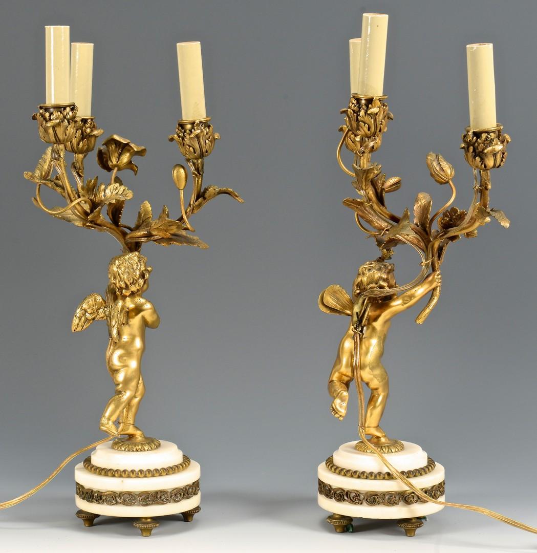 Lot 92: Pr. French Bronze Cherub Figural Lamps