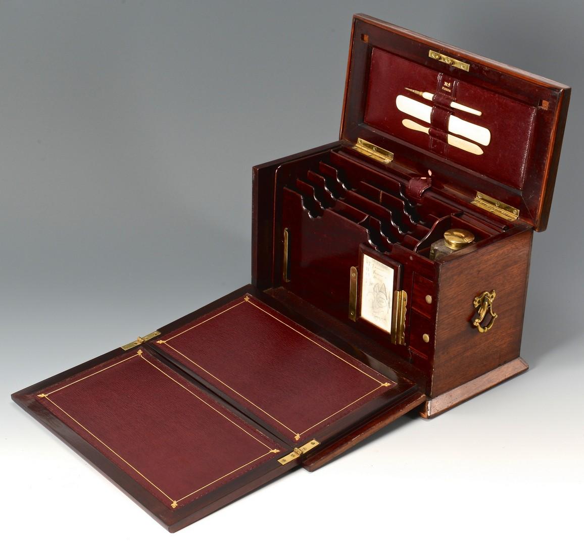 Lot 94: English Ladies Writing Desk & Rosewood Sewing Box