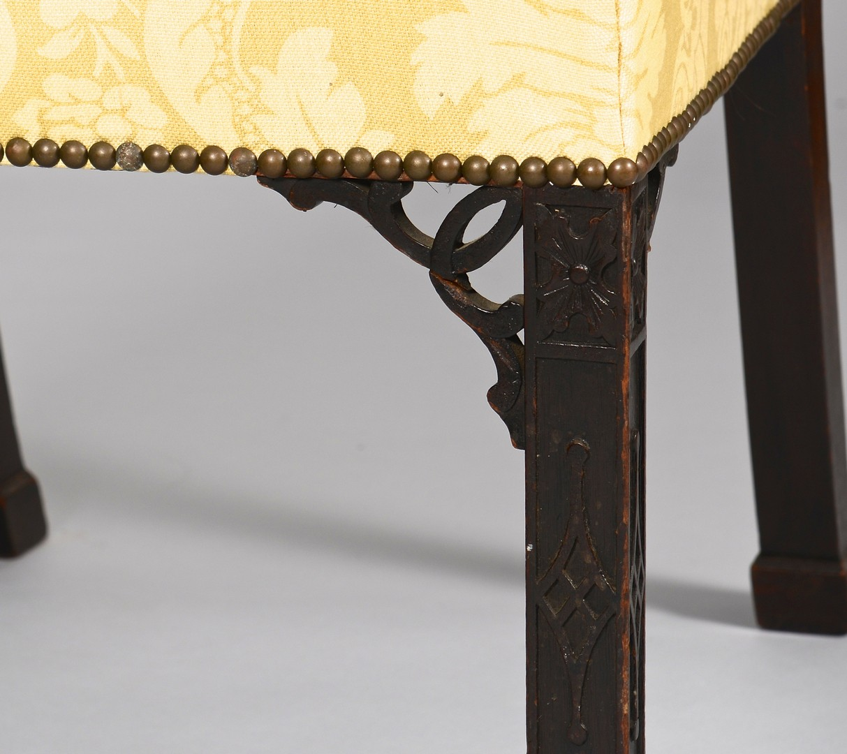 Lot 96: Pair George III Chinese Chippendale Backstools