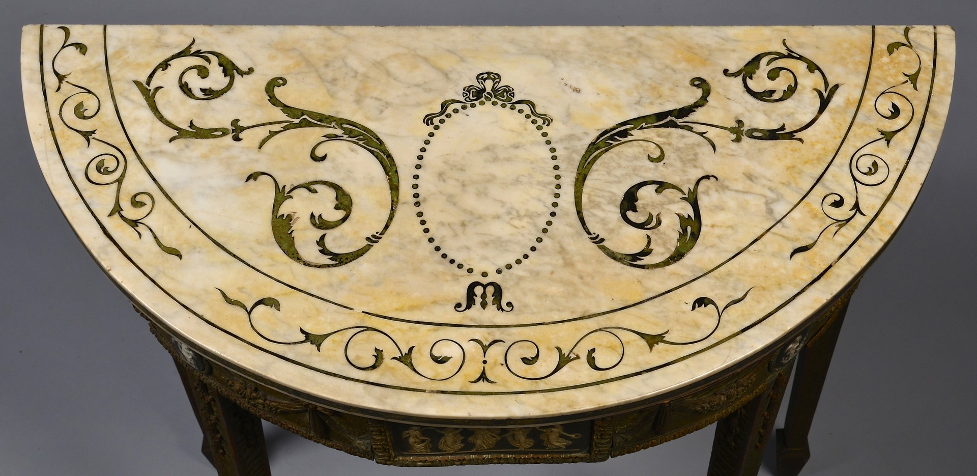 Lot 97: Adam Style Marble, Wedgwood Console Tables