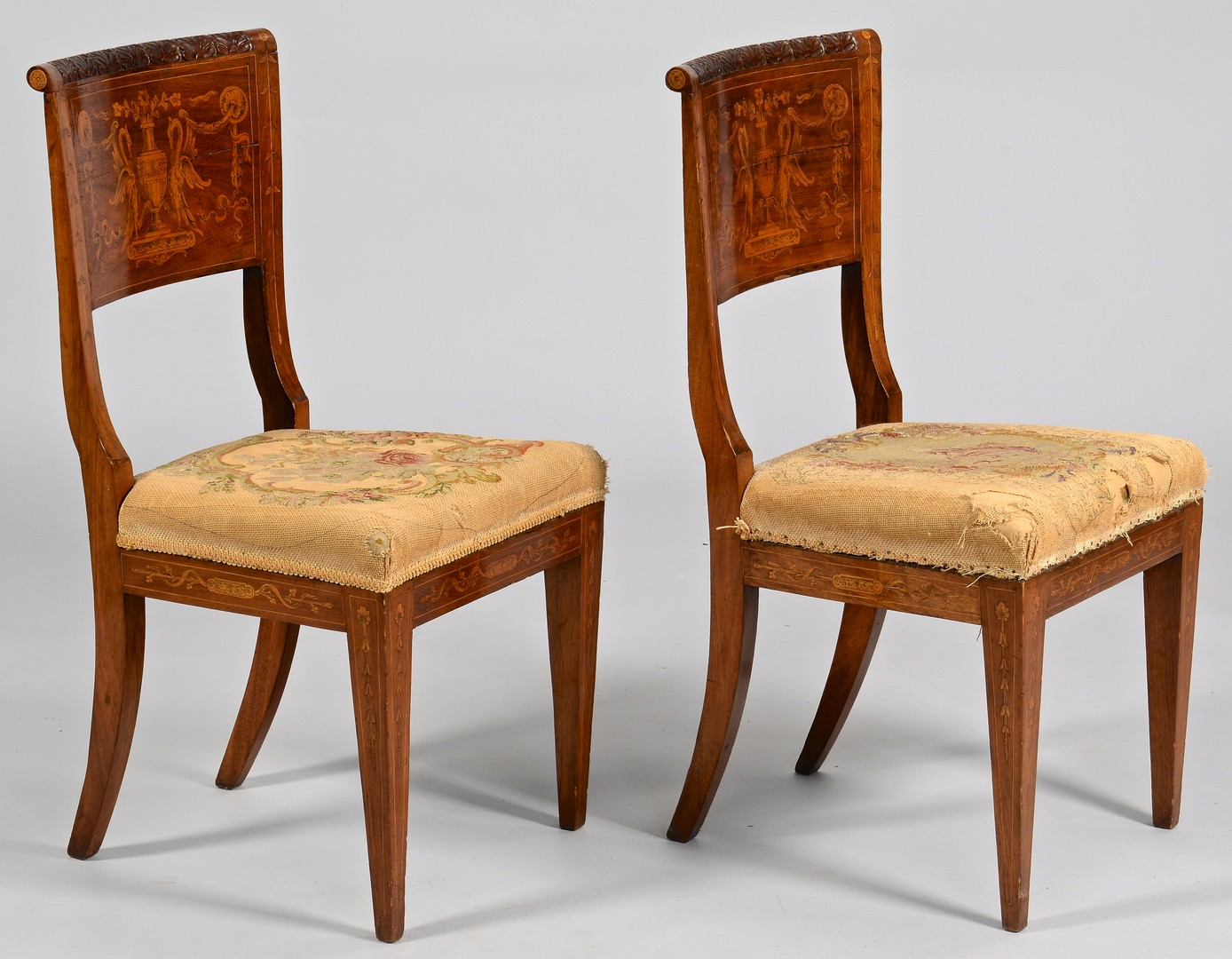 Lot 99: Pair European Marquetry Side Chairs