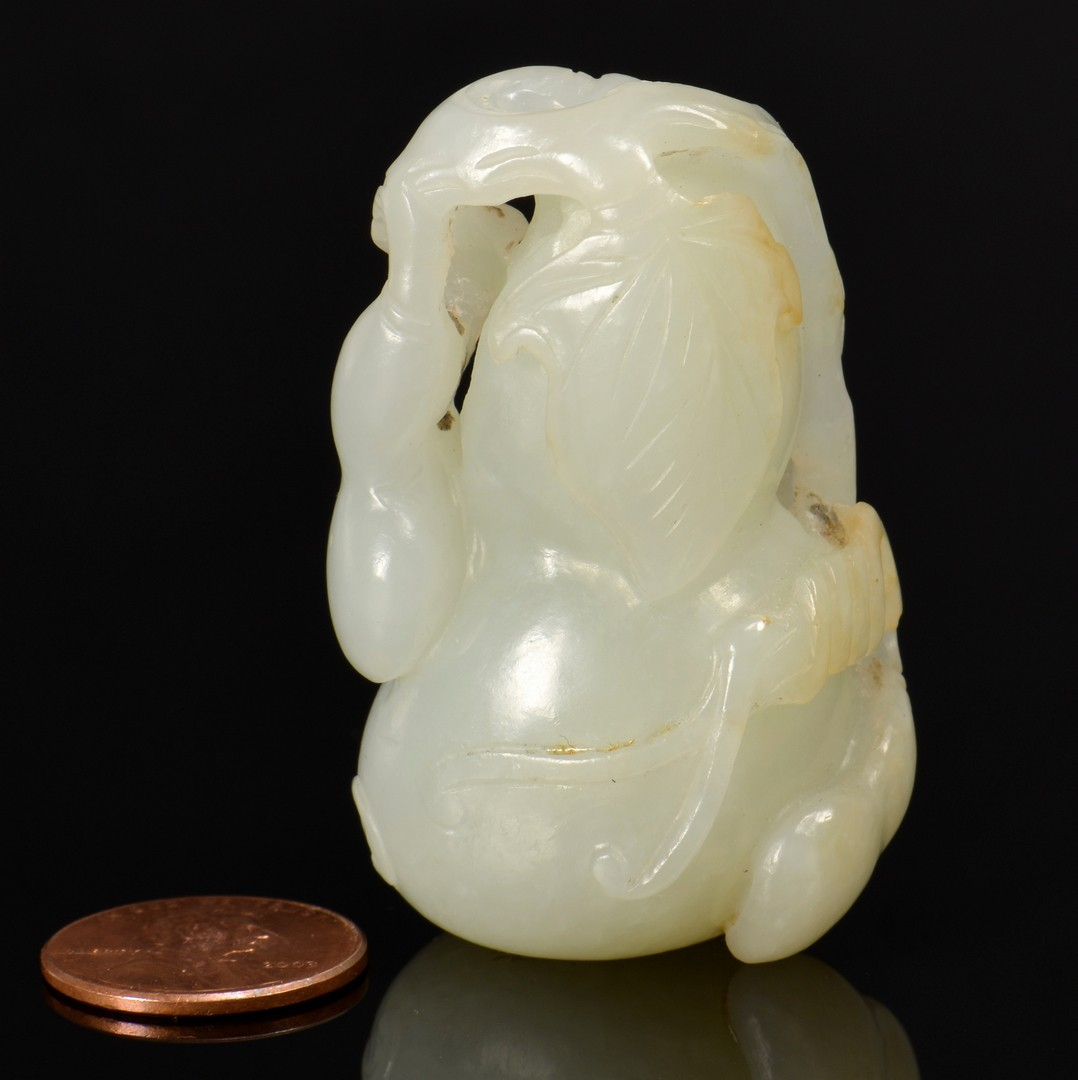 Lot 4010057: Chinese Carved White Jade Gourd