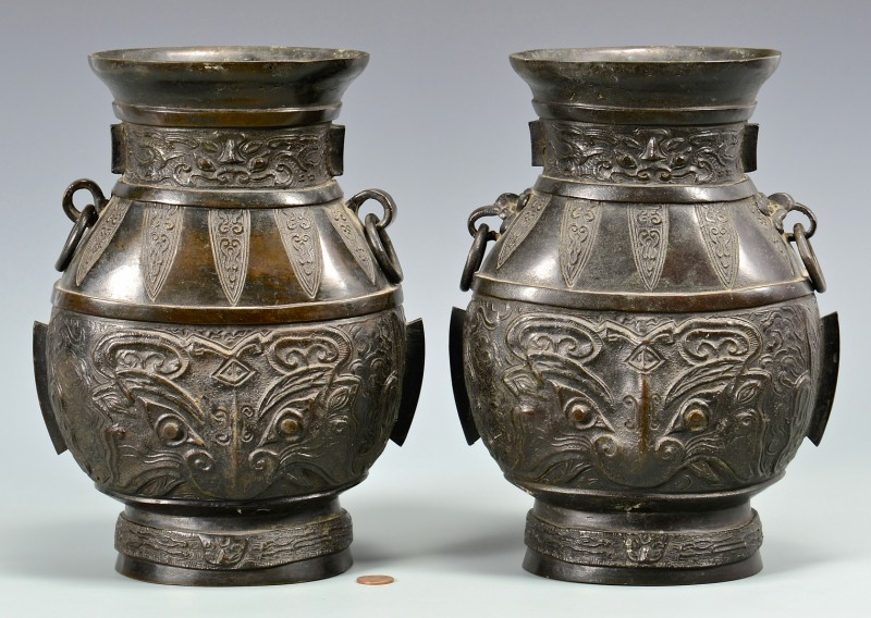 Lot 4010058: Pr. Chinese Hu Form Bronze Vases