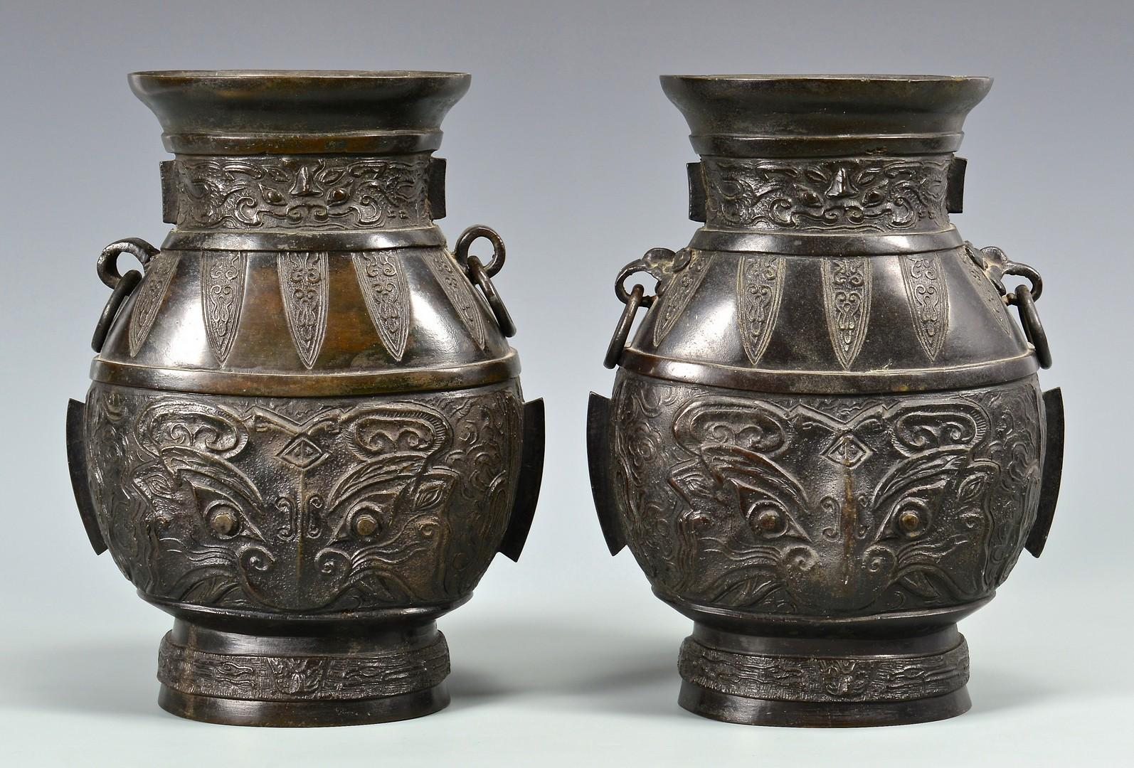 Lot 4010058: Pr. Chinese Hu Form Bronze Vases