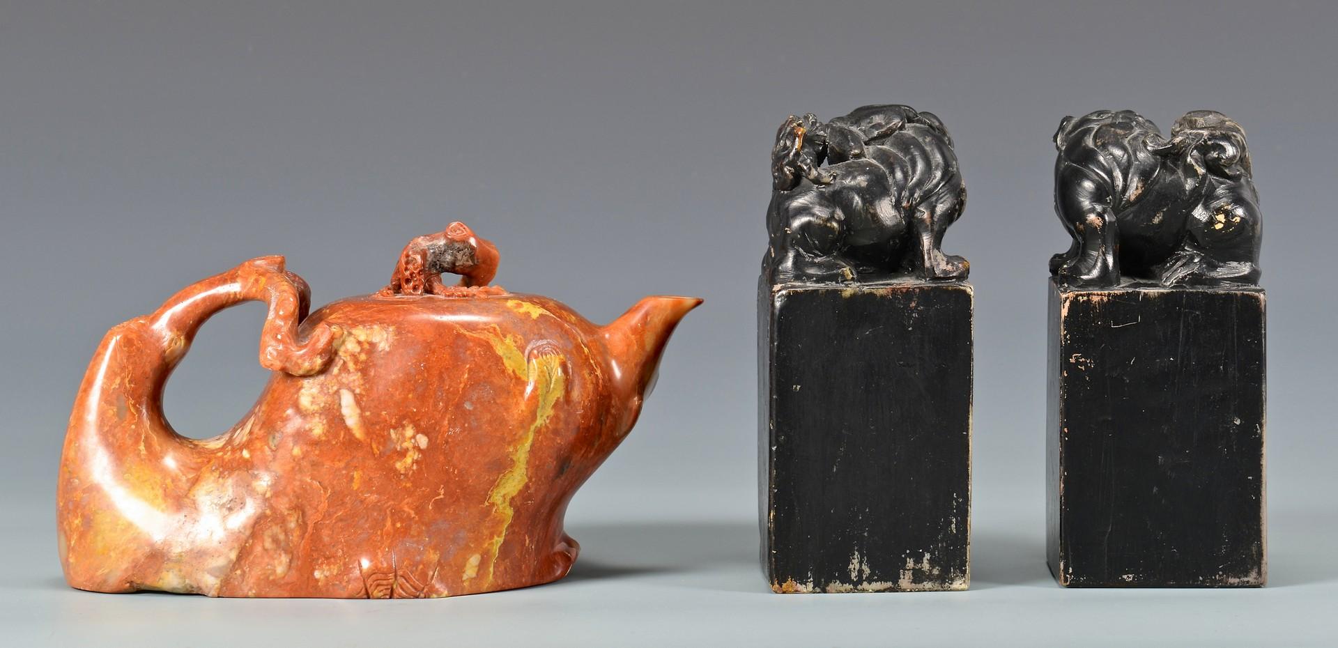 Lot 4010060: Chinese Soapstone Teapot & Pr. Hardstone Seals