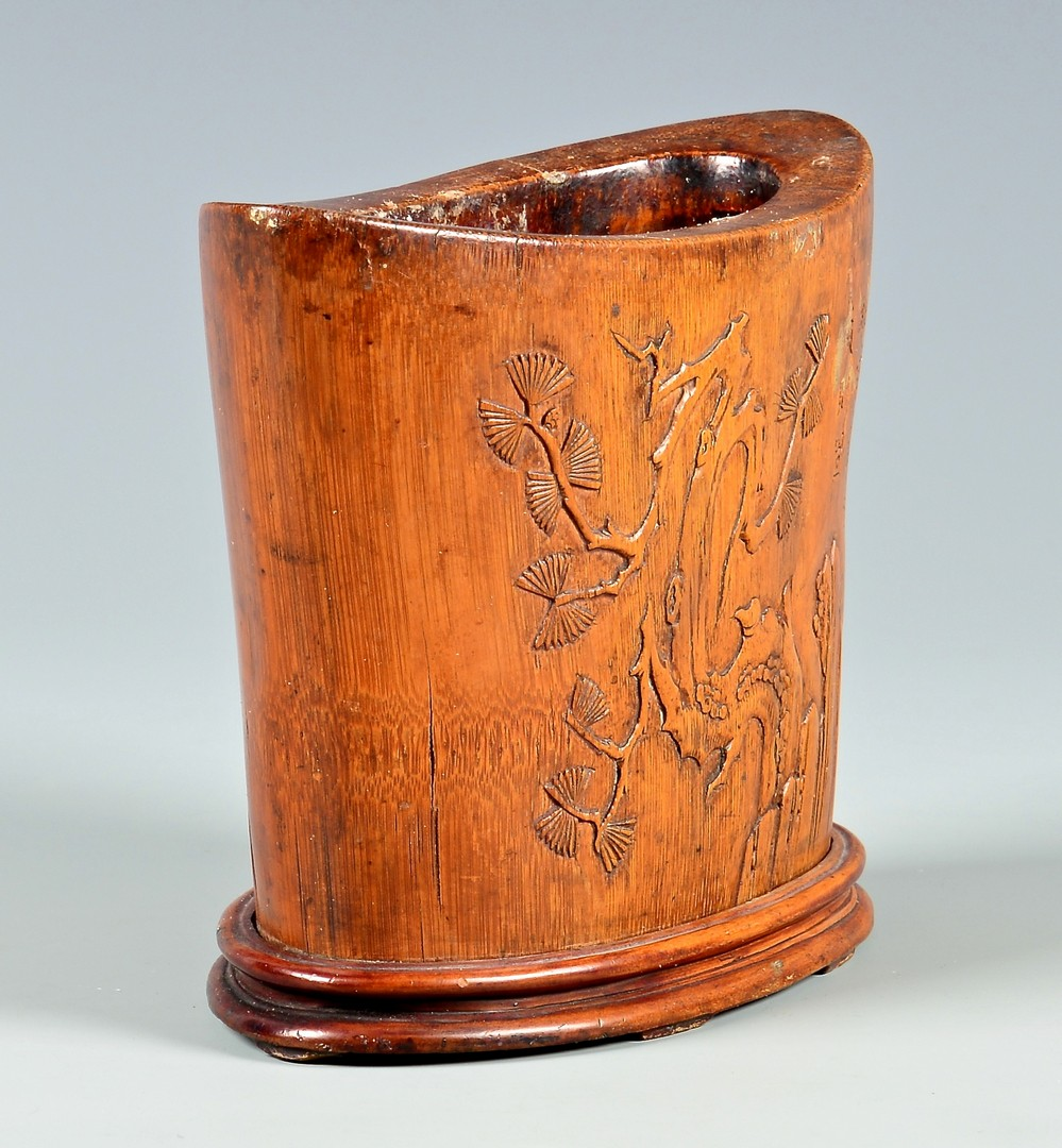 Lot 4010061: Signed Chinese Hardwood Brush Pot