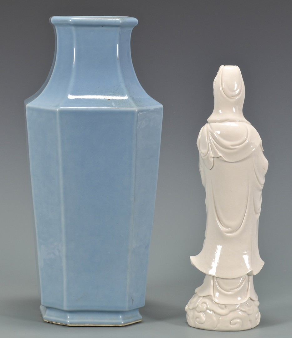 Lot 4010067: Chinese Blue Glaze Vase & Blanc de Chine Quan Yin
