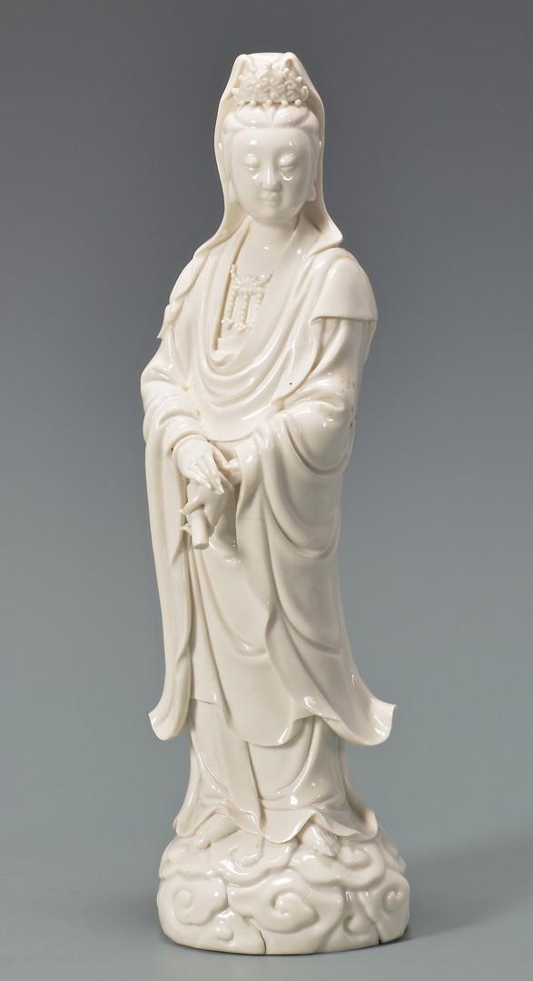 Lot 4010067: Chinese Blue Glaze Vase & Blanc de Chine Quan Yin