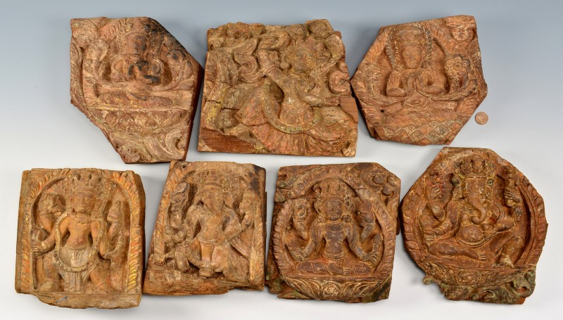 Lot 4010073: 7 Asian / Tibetan Architectural Plaques