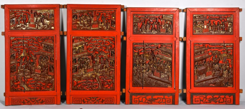 Lot 4010074: 4 Chinese Wood Architectural Panels w/ Figures