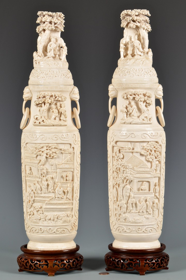 Lot 4010077: Pr. Chinese Signed & Carved Ivory Lidded Vases, 3rd Quarter 20th century