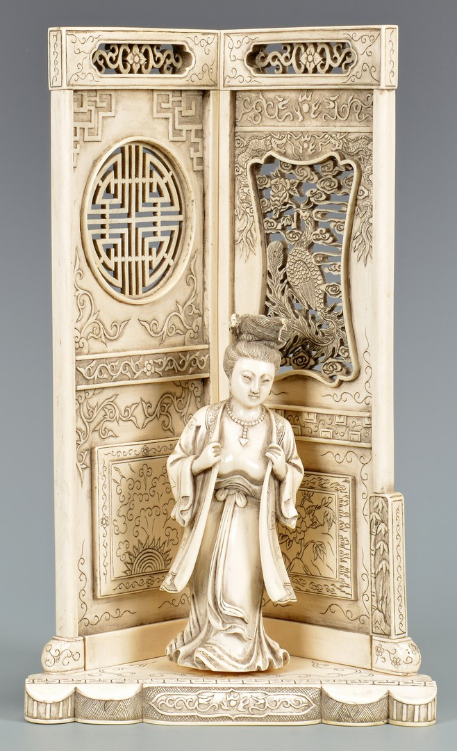 Lot 4010078: Japanese Carved Ivory Female & Screen, 2nd Quarter 20th Century