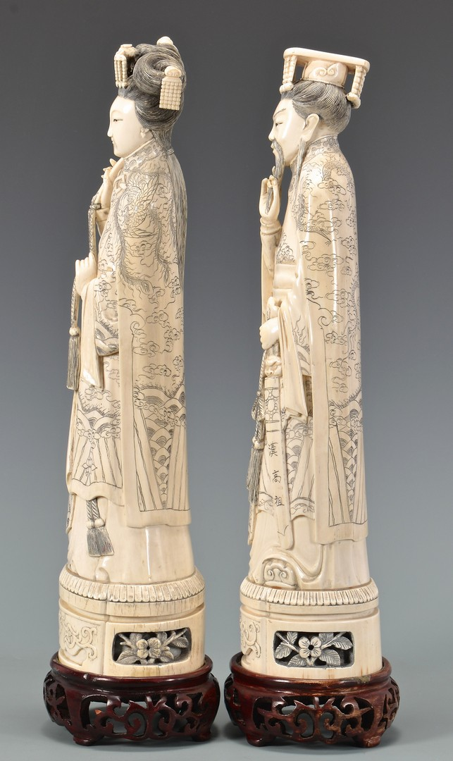 Lot 4010079: Pr. of Chinese Carved Ivory Figures, Late 19th Century