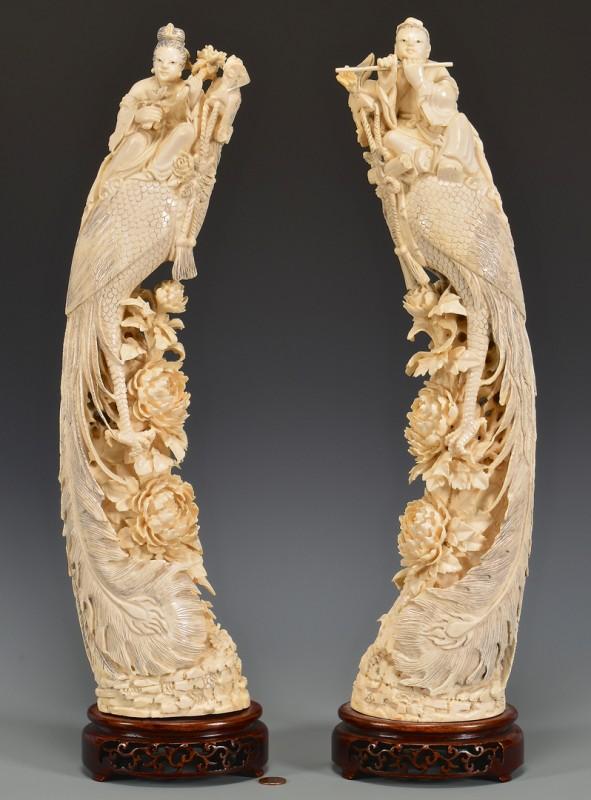 Lot 4010081: Pr. Chinese Ivory Phoenix Birds & Immortals, 3rd Quarter 20th Century
