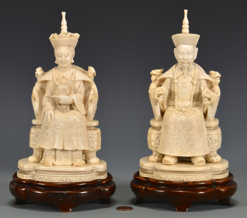 Lot 4010082: Pair of Carved Ivory Emperors on Stands, Third quarter of the 20th century