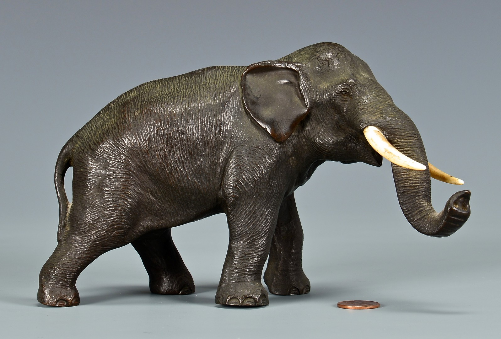 Lot 4010085: Japanese Meiji Bronze & Ivory Elephant, Late 19th/Early 20th Century