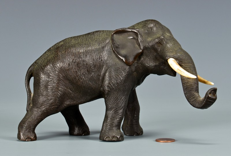 Lot 4010085: Japanese Meiji Bronze & Ivory Elephant, Late 19th/Early 20th Century