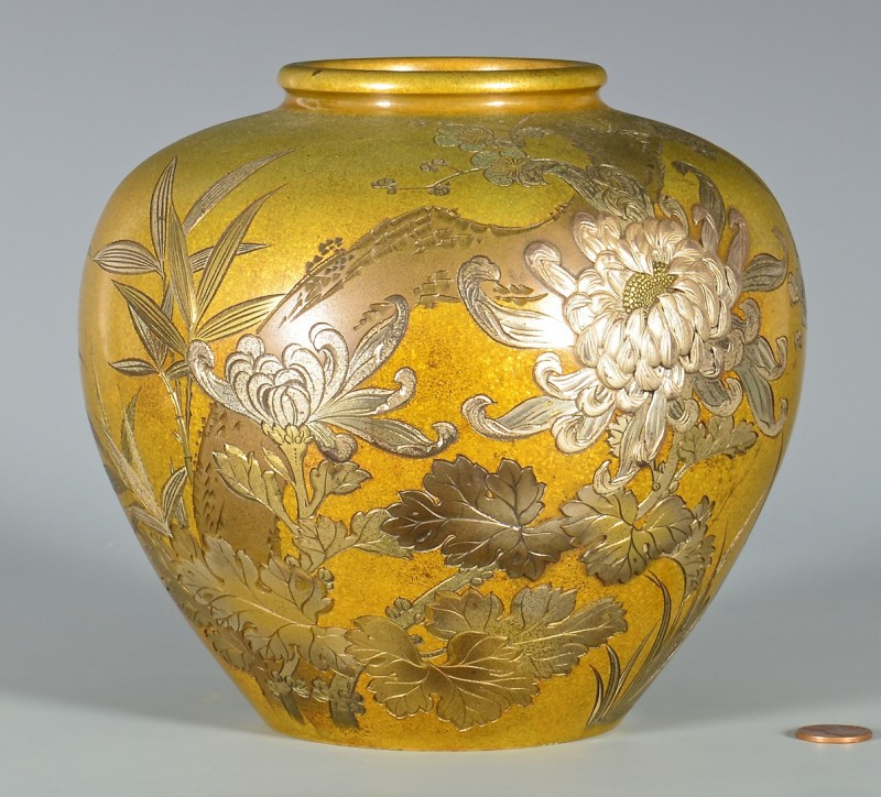 Lot 4010086: Japanese Gilt Bronze Inlaid Vase