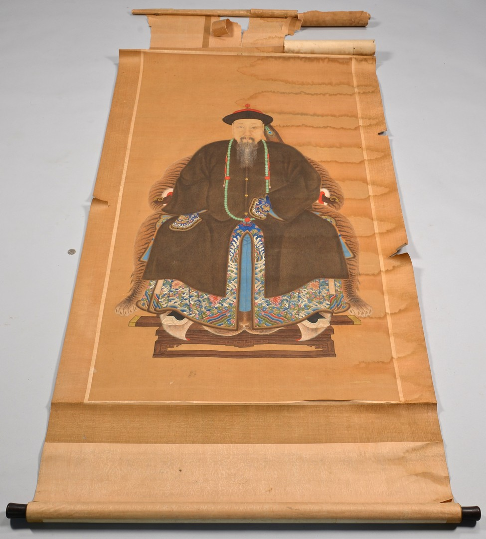 Lot 4010088: 3 Chinese Ancestral Scrolls, incl. Qing Dynasty Court Official