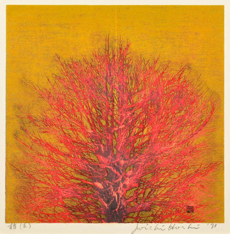 "Lot 4010089: Hoshi Colored Woodblock ""Treetop"""