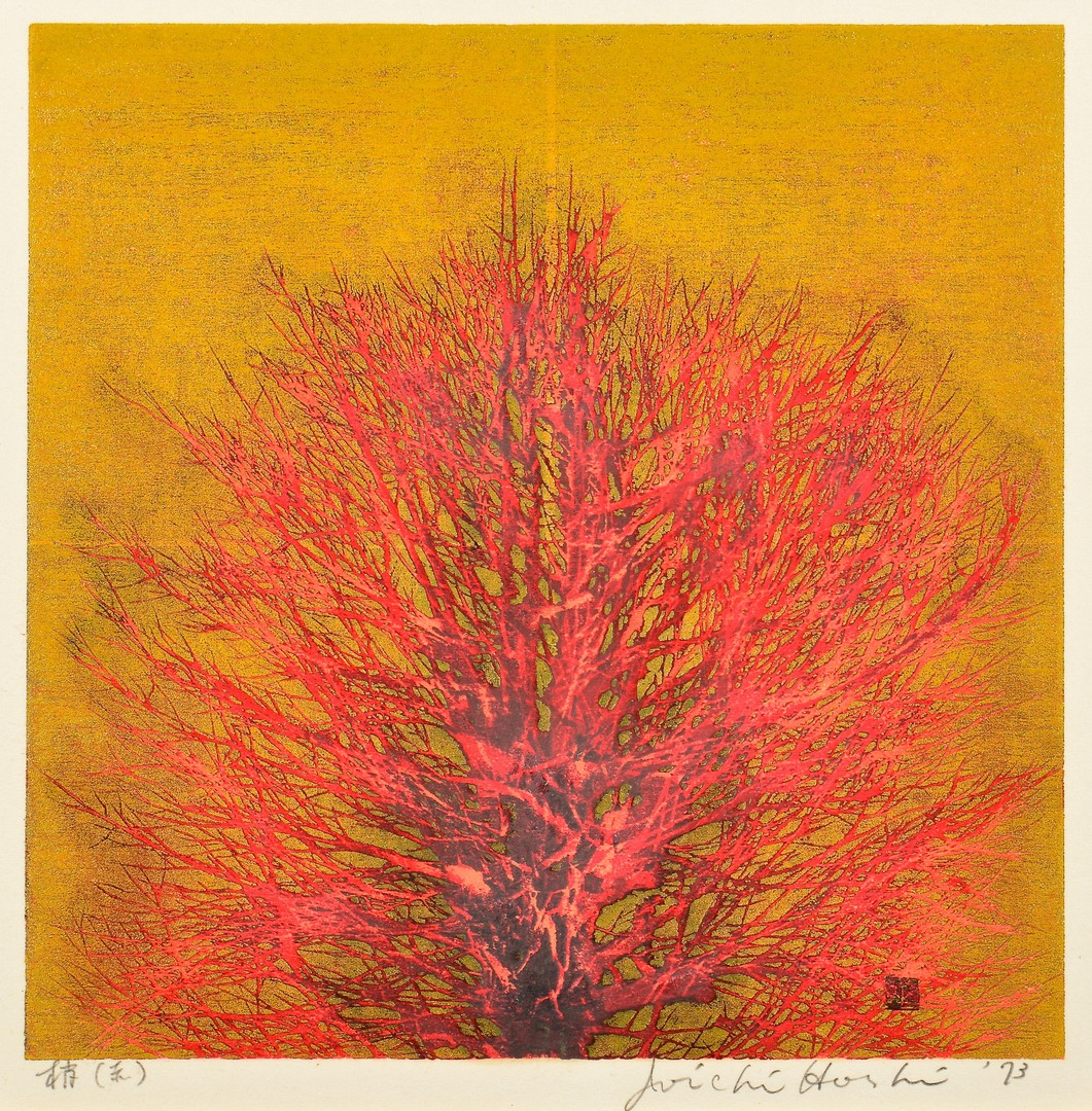 "Lot 4010089: Hoshi Colored Woodblock ""Treetop"""