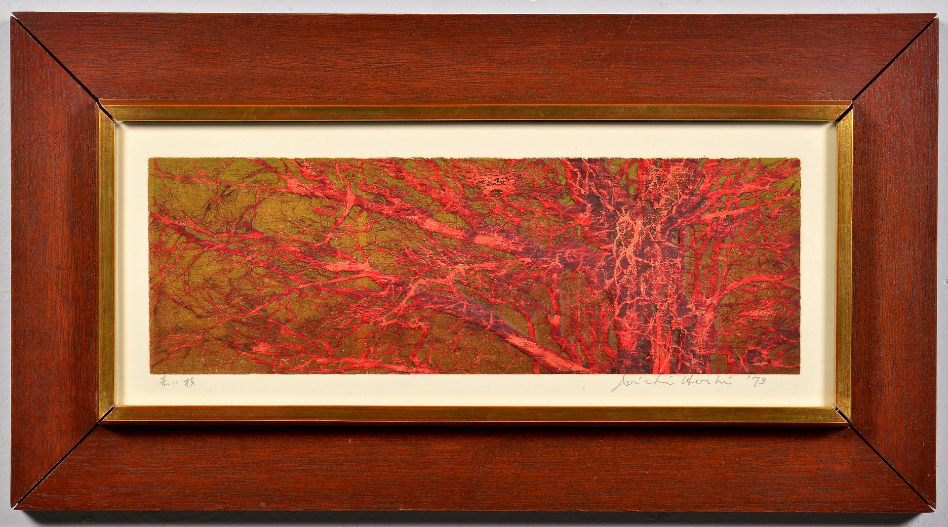 """Lot 4010090: Hoshi Woodblock """"Red Branches"""""""
