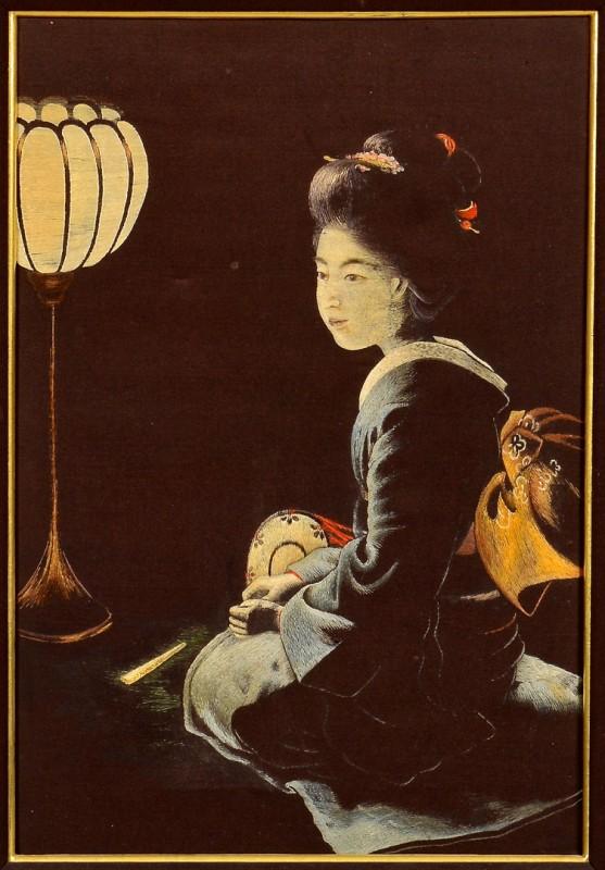 Lot 4010093: Meiji Japanese Silk Embroidered Panel, Nishimura Sozaemon