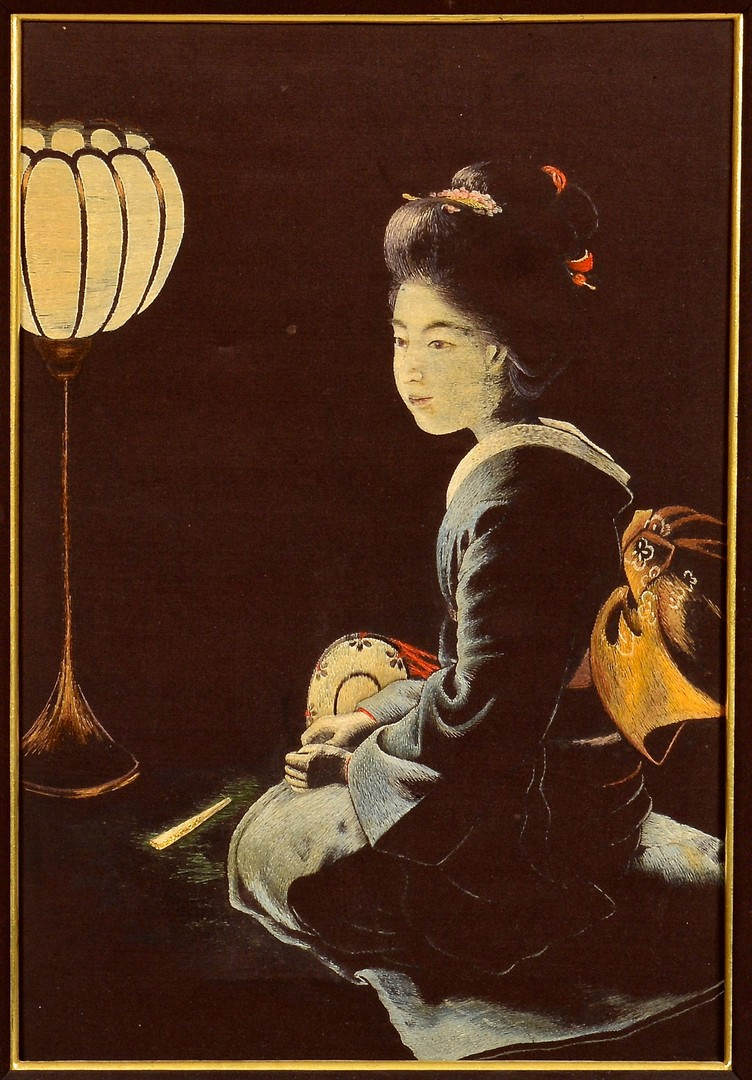 Lot 4010093 Meiji Japanese Silk Embroidered Panel Nishimura Sozaemon