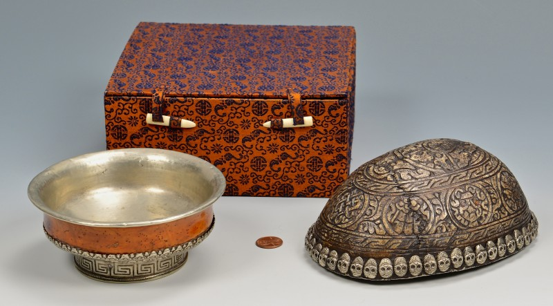 Lot 4010098: Tibetan Tea Bowl & Silver Mounted Skull Bowl