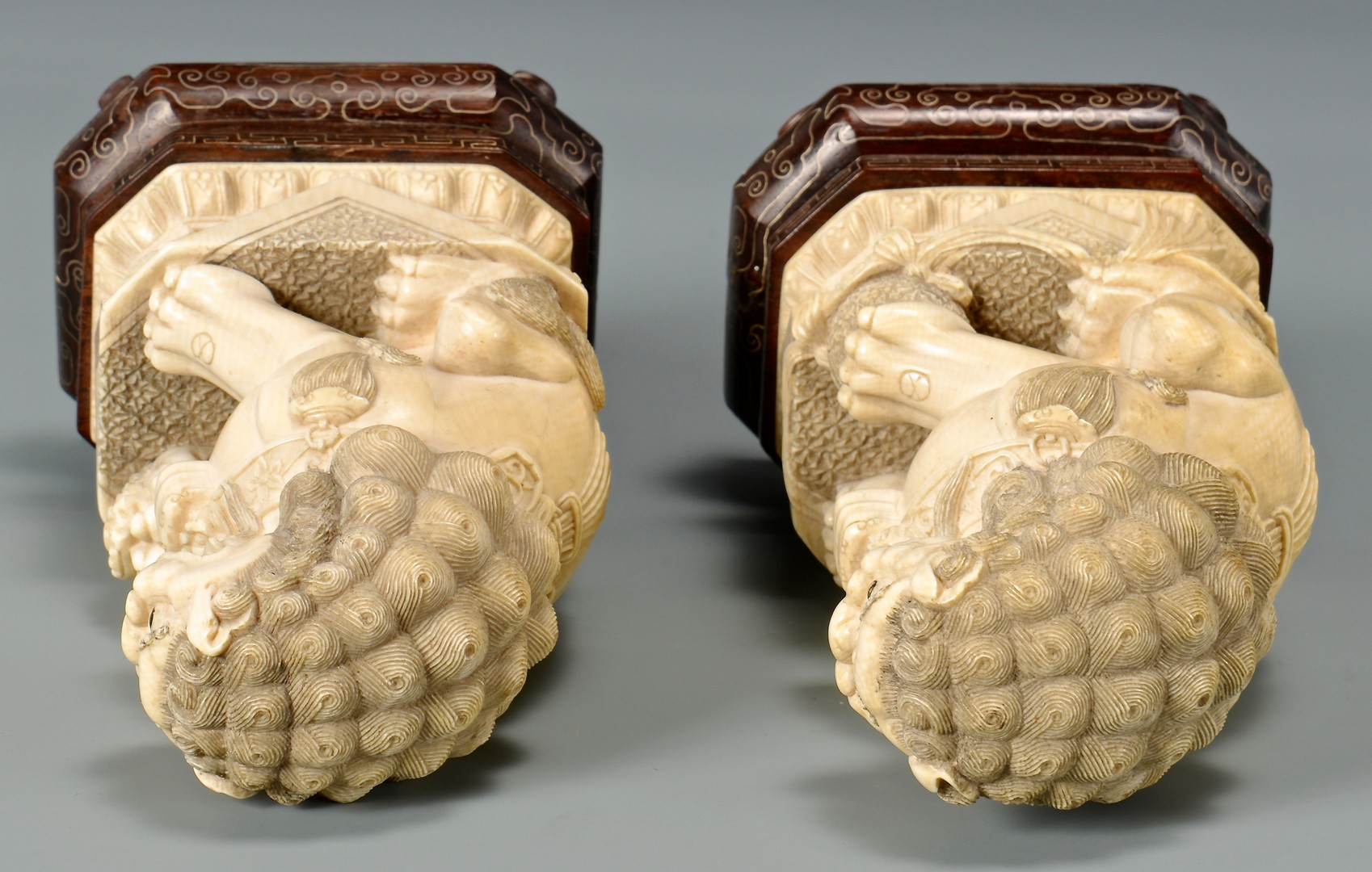 Lot 4010103  Pair Chinese Ivory Foo Dogs With Conforming