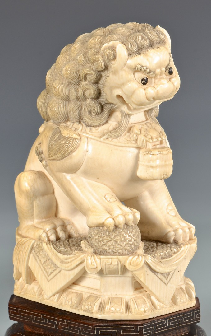 Lot 4010103: Pair Chinese Ivory Foo Dogs with Conforming Bases, Second quarter 20th century