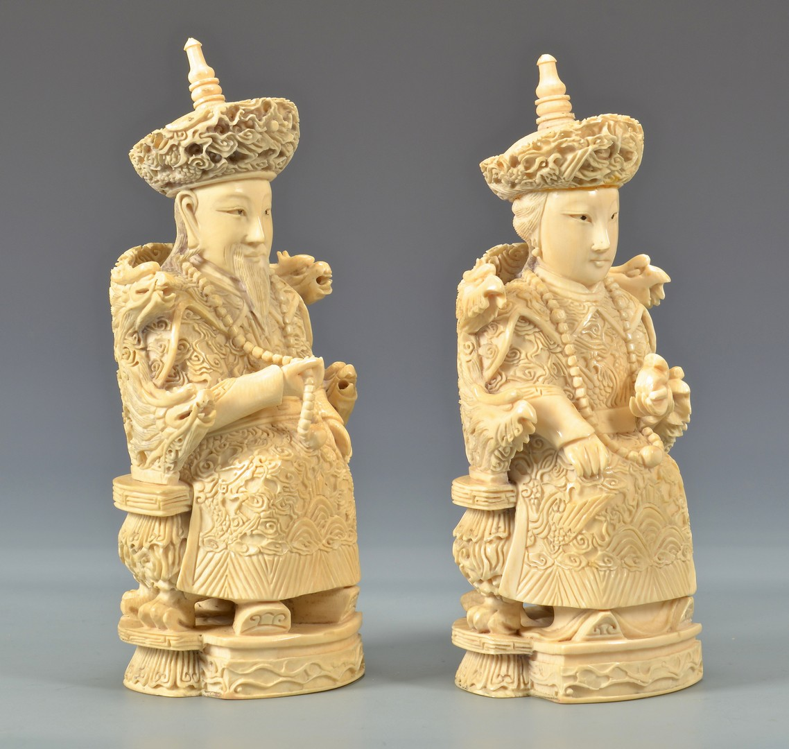 Lot 4010105: Ivory Emperor and Empress, Third quarter of the 20th century, signed