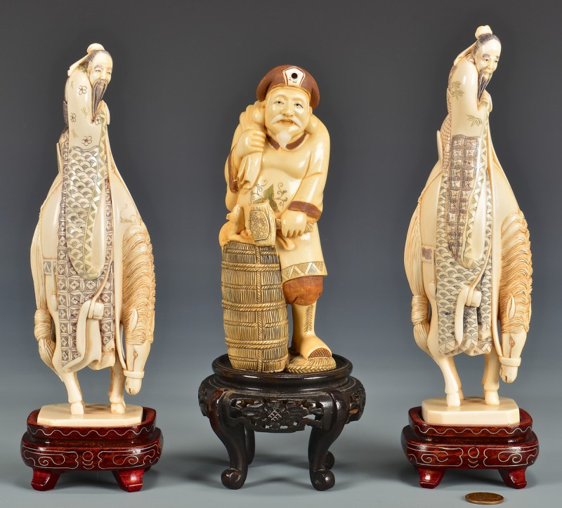 Lot 4010106: 3 Asian Carved Ivory Figures, Third quarter of 20th century