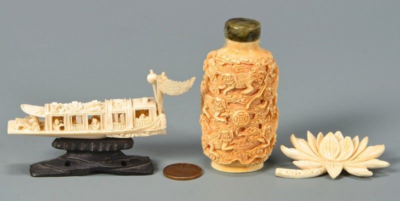 Lot 4010107: 3 Carved Asian Ivory Items