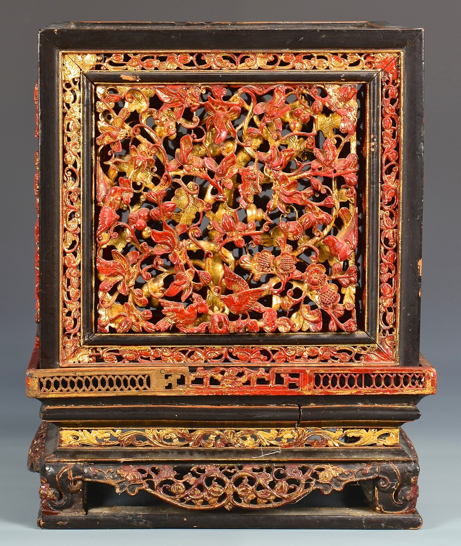 Lot 4010109: Chinese Lacquer Carved Gilt Altar Box & 2 Carved Doors