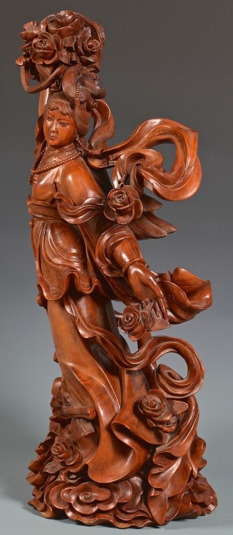 Lot 4010111: Large Asian Carved Wooden Female Beauty